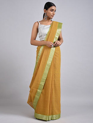 Beige Handwoven Missing Check Cotton Saree with Zari