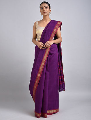 Purple Handwoven Cotton Saree with Zari