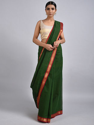 Green Handwoven Cotton Saree with Zari