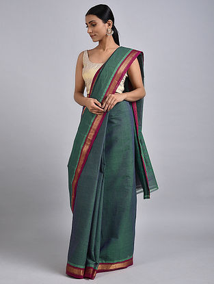 Green-Purple Handwoven Cotton Saree with Zari
