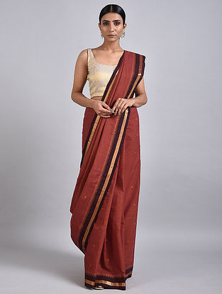 Red Handwoven Cotton Saree with Zari