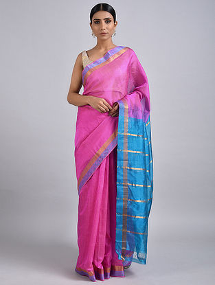 Pink-Blue Handwoven Silk Cotton Saree with Zari