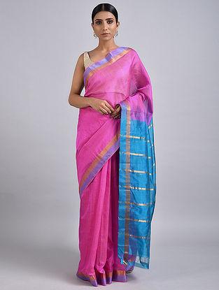 Pink-Blue Handwoven Silk Cotton Saree with Zari