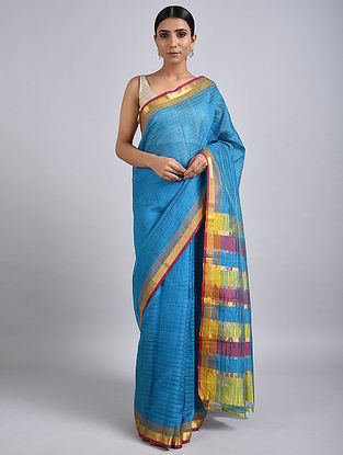 Blue-Yellow Handwoven Silk Cotton Saree with Zari