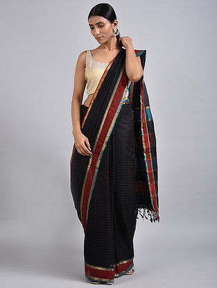 Black Handwoven Silk Cotton Saree with Zari