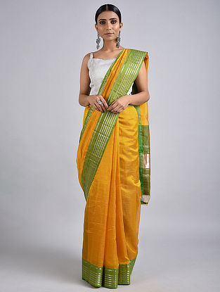 Yellow-Green Handwoven Silk Cotton Saree with Zari