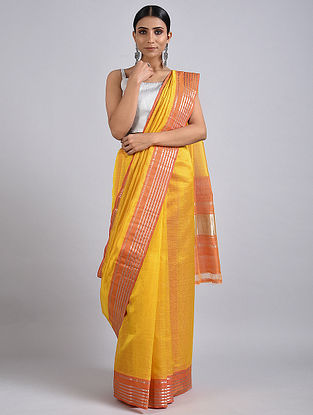 Yellow-Pink Handwoven Silk Cotton Saree with Zari