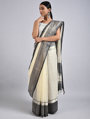 Ivory-Black Handwoven Silk Cotton Saree with Zari