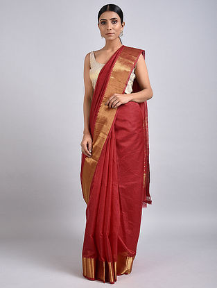 Red Handwoven Silk Cotton Saree with Zari