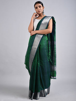 Green Handwoven Silk Cotton Saree with Zari