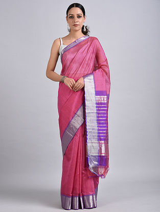 Pink-Purple Handwoven Silk Cotton Saree with Zari