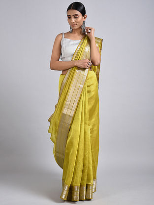 Yellow Handwoven Silk Cotton Saree with Zari