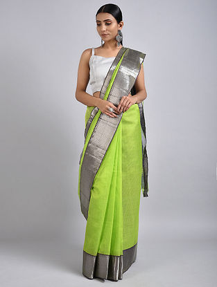 Green-Grey Handwoven Silk Cotton Saree with Zari