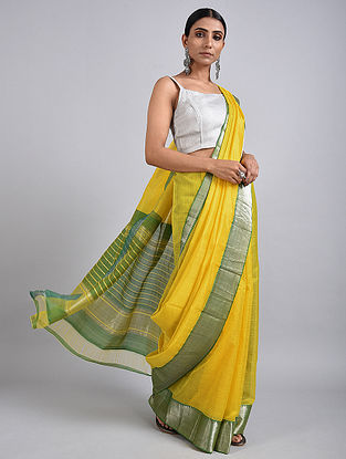 Yellow Handwoven Silk Cotton Saree with Zari