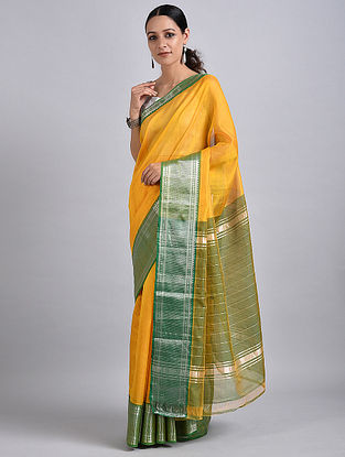 Yellow-Green Handwoven Silk Cotton Saree with Zari