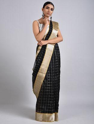 Black-Olive Handwoven Silk Cotton Saree with Zari