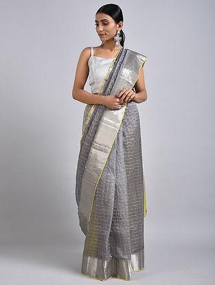 Grey-Yellow Handwoven Silk Cotton Saree with Zari