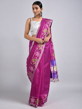 Pink Handwoven Silk Cotton Saree with Zari