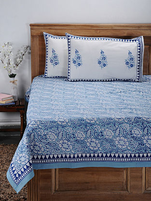 Blue Hand Block-printed Cotton Double Bed Cover with Pillow Covers (Set of 3)