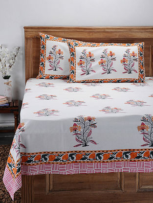 Orange Hand Block-printed Cotton Double Bed Cover with Pillow Covers (Set of 3)