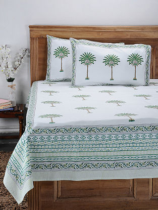 Green Hand Block-printed Cotton Double Bed Cover with Pillow Covers (Set of 3)