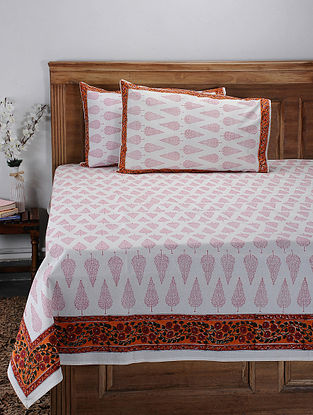 Red Hand Block-printed Cotton Double Bed Cover with Pillow Covers (Set of 3)