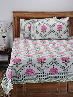 Pink Hand Block-printed Cotton Double Bed Cover with Pillow Covers (Set of 3)