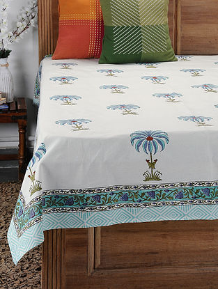 Blue Hand Block-printed Cotton Single Bed Cover (86in x 61in)