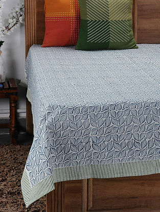Blue Hand Block-printed Cotton Single Bed Cover (85in x 61in)