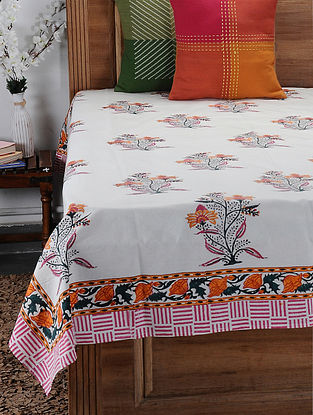 Orange Hand Block-printed Cotton Single Bed Cover (86in x 61in)
