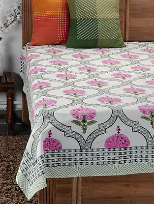 Pink Hand Block-printed Cotton Single Bed Cover (86in x 62in)