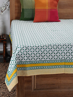 Green Hand Block-printed Cotton Single Bed Cover (85in x 61in)