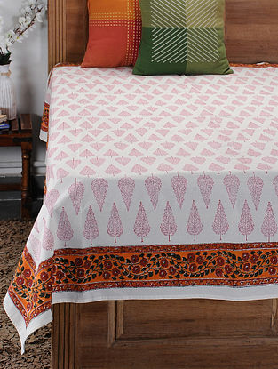 Red Hand Block-printed Cotton Single Bed Cover (85in x 60in)