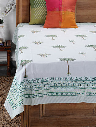 Green Hand Block-printed Cotton Single Bed Cover (85in x 60in)