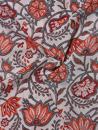 White and Red Hand Block Printed Cotton Upholstery Fabric