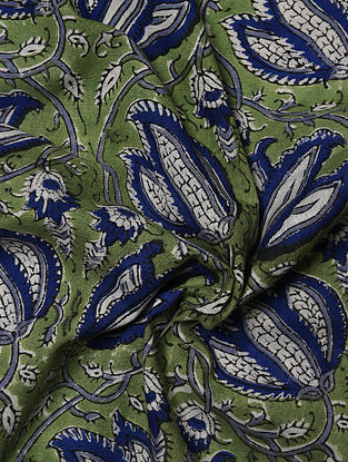 Green and Blue Hand Block Printed Cotton Upholstery Fabric