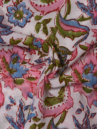 White and Pink Hand Block Printed Cotton Upholstery Fabric