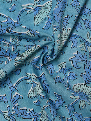Blue Hand Block Printed Cotton Upholstery Fabric