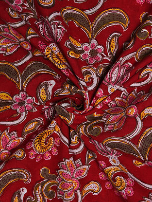Red-Multicolor Hand Block Printed Cotton Upholstery Fabric