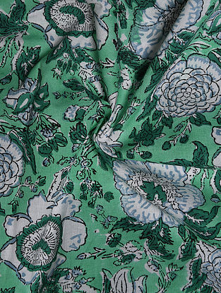 Green and White Hand Block Printed Cotton Upholstery Fabric