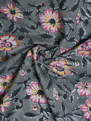 Grey-Multicolor Hand Block Printed Cotton Upholstery Fabric
