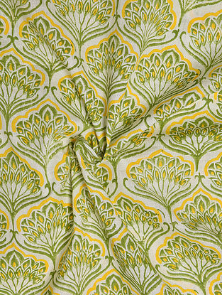 White and Green Hand Block Printed Cotton Upholstery Fabric
