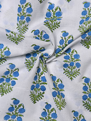 White and Blue Hand Block Printed Cotton Upholstery Fabric