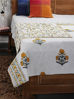 Mustard Cotton Voile and Flannel Double Dohar (108in x 86in)