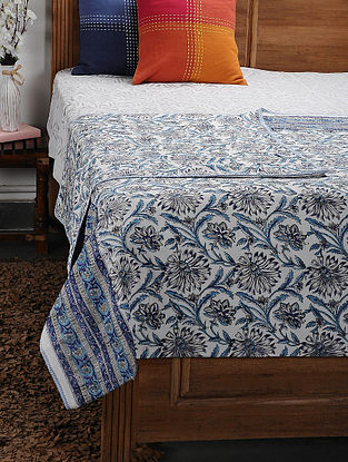 Blue Cotton Voile and Flannel Double Dohar (106in x 92in)