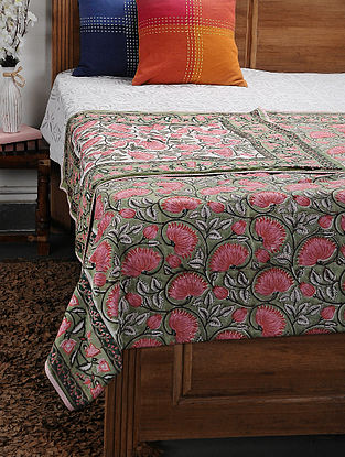 Green Cotton Voile and Flannel Double Dohar (106in x 89in)