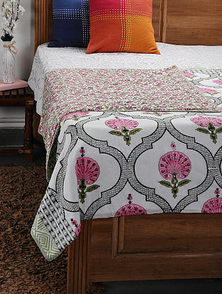 Pink Cotton Voile and Flannel Double Dohar (108in x 88in)