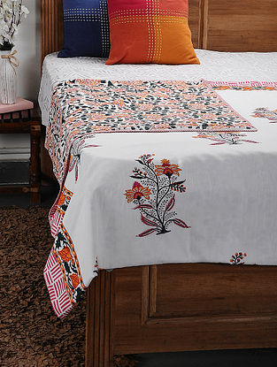 Orange Cotton Voile and Flannel Double Dohar (108in x 88in)
