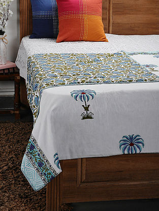 Blue Cotton Voile and Flannel Double Dohar (106in x 90in)