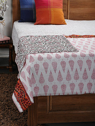 Orange Cotton Voile and Flannel Single Dohar (88in x 62in)